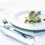 Caramelized Goats Cheese with Pear Compote Photographic Print by Stefan Braun