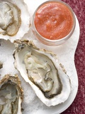 Fresh Oysters with Tomato Sauce Photographic Print