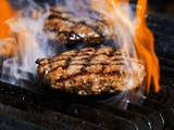 Flame Grilled Burgers on the Grill Photographic Print by Dean Sanderson