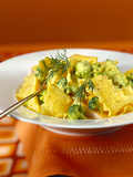 Home-Made Noodles with Broccoli, Fish and Saffron Sauce Photographic Print by Luzia Ellert