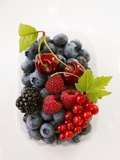 Assorted Berries and Two Cherries in Plastic Punnet Photographic Print