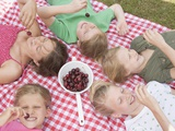 Children Eating Cherries Photographic Print