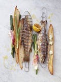 Grilled Charr with Spring Onions, Herb Butter and Toasted Bread Photographic Print by Luzia Ellert