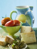 Still Life with Olives, Tomatoes, Cheese and White Bread Photographic Print