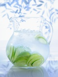 A Jug of Water with Limes Fotografisk tryk af Axel Weiss