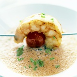 Frothy Soup with a Prawn and Tomato Kebab Photographic Print by Stefan Braun
