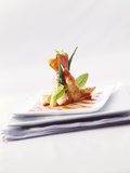 Fried Prawns with Okra Pods in Tempura Batter Photographic Print by Andreas Thumm