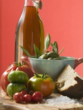 Fresh Tomatoes, Olives, Bread, Salt and Olive Oil Photographic Print