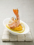 Fried Prawn with Dip on Slice of Lemon Photographic Print