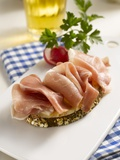 Open Ham Sandwich, Radishes and Beer Photographic Print by Kai Schwabe
