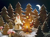 A Christmas Forest Scene with Father Christmas Photographic Print