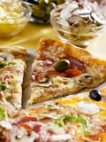 Pizza with a Slice Cut and Pizza Ingredients Photographic Print