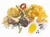 Ingredients for Pasta and Artichoke Dish Photographic Print by Janez Puksic