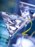 Martini with Lemon Peel and Ice Cubes Photographic Print
