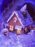 Gingerbread House with Atmospheric Lighting Photographic Print