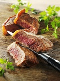 Beef Steak, Cut into Slices Photographic Print by Paul Williams