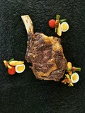 Beef Steak with Baked Potato Pasta, Kenya Beans Wrapped in Bacon and Potato Straw Photographic Print by Herbert Lehmann