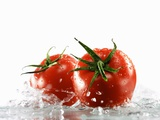 Two Tomatoes Surrounded with Water Photographic Print by Michael Löffler
