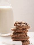 Chocolate Chip Cookies and a Glass of Milk Photographic Print