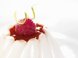 Vanilla Blancmange with Raspberry Sauce Photographic Print