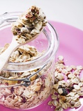 Muesli with Dried Fruit in Preserving Jar Photographie