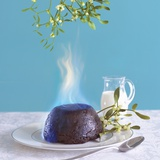 Flaming Christmas Pudding and Mistletoe Photographic Print by Dave King