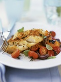 Cod with Herb Crust on Tomatoes Photographic Print by Ian Garlick