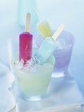 Coloured Ice Lollies in Glasses of Crushed Ice Photographic Print by Ian Garlick