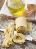 Home-Made Ribbon Pasta, Olive Oil, Eggshells Photographic Print