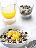 Muesli with Pumpkin Seeds and Oranges Photographic Print by Edgar Jablonski