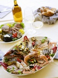 Platter of Grilled, Fish, Shellfish and Vegetables Photographic Print