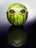 A Watermelon Wearing Sunglasses Photographic Print by Arne Morgenstern