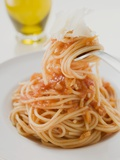 Spaghetti with Tomato Sauce and Parmesan on Fork and Plate Photographic Print