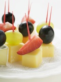 Cheese and Fruit Appetisers (With Grapes and Strawberries) Photographic Print