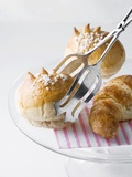 Milk Rolls and Croissant with Cake Tongs Photographic Print by Caroline Martin
