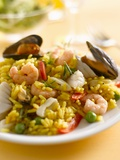 Paella with Mussels and Shrimps Photographic Print by Kai Schwabe