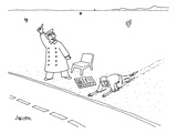A man who has just crawled through the desert reaches a road, where a New … - New Yorker Cartoon Premium Giclee Print by Jack Ziegler