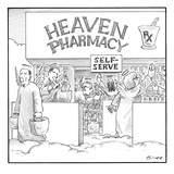 Heaven Pharmacy features angels loading up on medications. - New Yorker Cartoon Premium Giclee Print by Harry Bliss