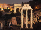 Temple of Castor and Pollux, Arch of Titus and Colosseum, Roman Forum, Rome, Italy Photographic Print by Manuel Cohen