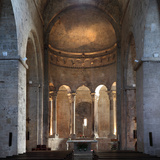 Romanesque apse, Benedictine monastery church of Sant Pere, Besalu, Girona, Spain Photographic Print by Manuel Cohen