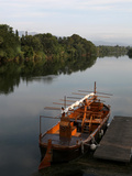 Traditional catalan wooden boat on the Ebro river, Tortosa, Tarragona, Spain Photographic Print by Manuel Cohen