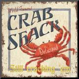 Crab Shack Monteret tryk af Debbie DeWitt