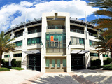 A view of Alex Rodriguez Park at the University of Miami in Coral Gables, Florida. Fotografisk tryk