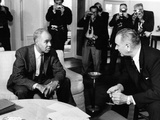 Roy Wilkins, Lyndon D. Johnson - 1963 Photographic Print by Maurice Sorrell