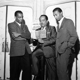 Langston Hughes, Chatley Herrigan, Melvin Stewart - 1957 Photographic Print by Moneta Sleet