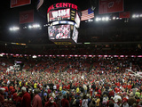 Wisconsin vs Michigan - Fans Rush the Court: Madison, Wis., Feb. 9, 2013 Fotografisk tryk
