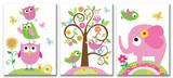 Owls, Elephants and Birds Trio Wood Sign