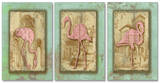 Vintage Pink Flamingo Trio Triptych Art Wood Sign