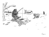 Bears above the snowstorm fish for humans trapped in a car. - New Yorker Cartoon Premium Giclee Print by Zachary Kanin