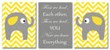 Yellow Chevron Elephants Love Trio Wood Sign